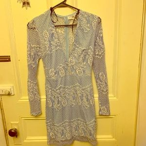 Misguided light blue Lace dress